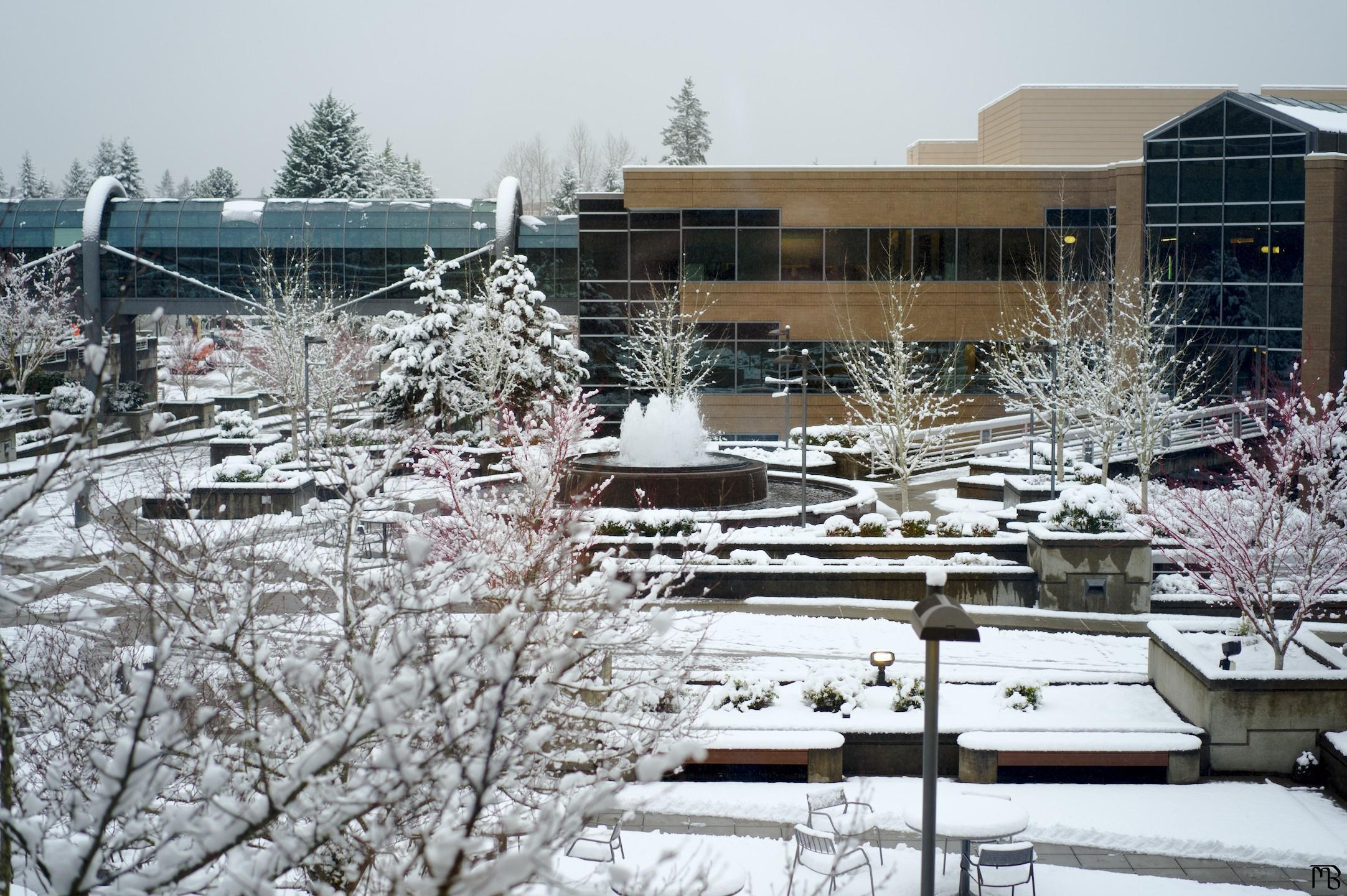 Snow covered plaza